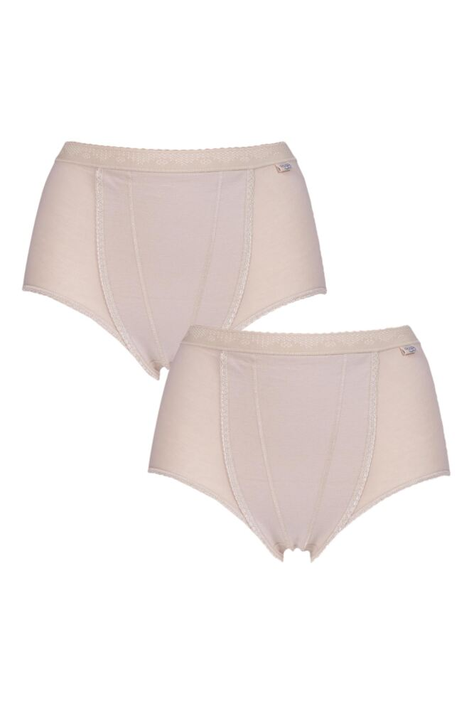 Ladies 2 Pack Sloggi Control Shaping Maxi Cotton Briefs
