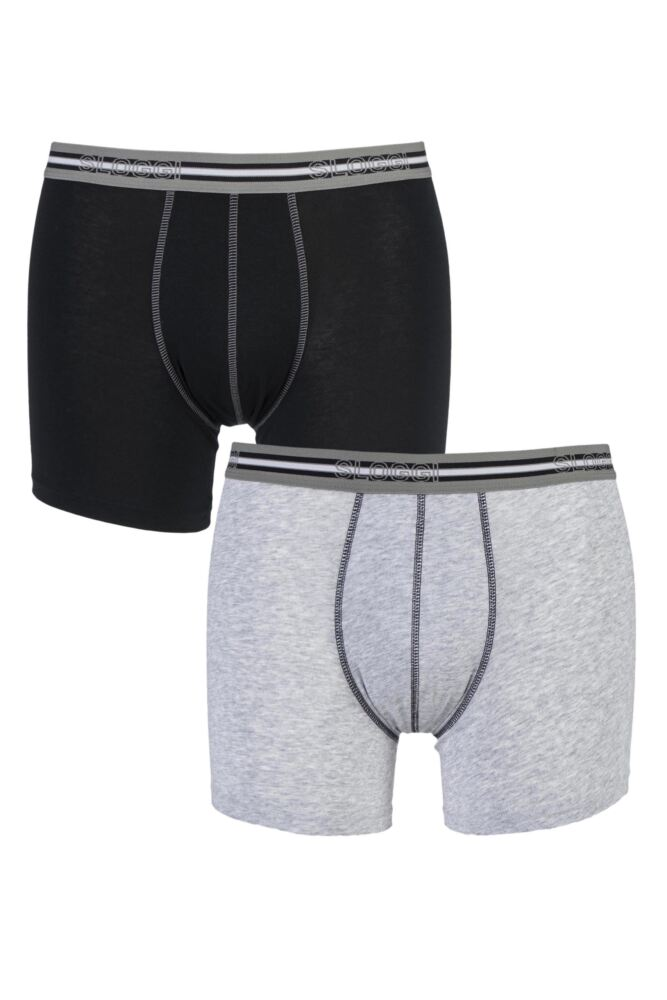 Mens 2 Pair Sloggi Match Cotton Short Briefs In Black and Grey