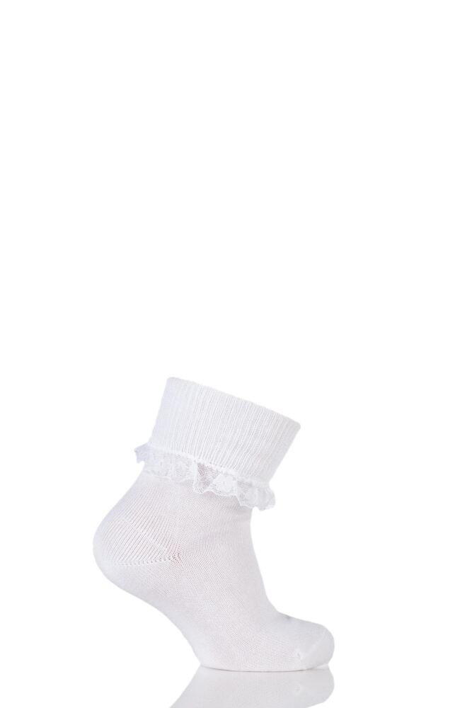 Girls 1 Pair Falke Romantic Lace Trim Anklet Socks