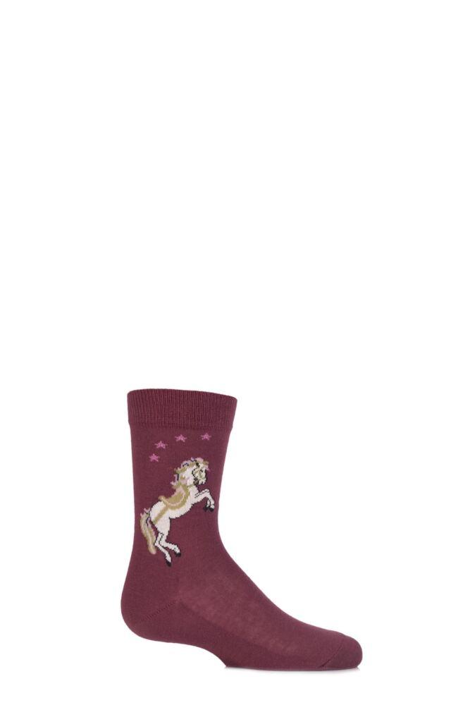 Girls 1 Pair Falke White Horse Cotton Socks