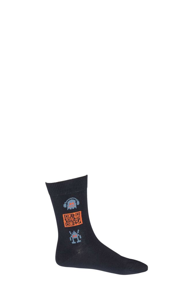 Boys 1 Pair Falke Music Robot QR Code Cotton Socks 25% OFF