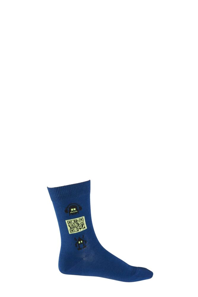 Boys 1 Pair Falke Music Robot QR Code Cotton Socks