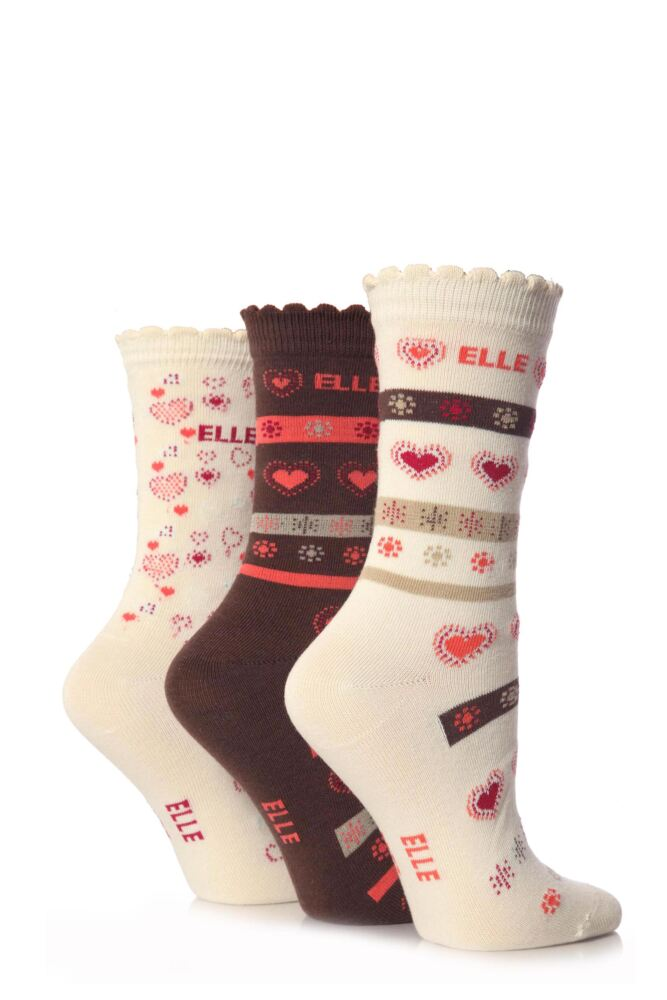 Girls 3 Pair Young Elle Stone Heart Socks 25% OFF