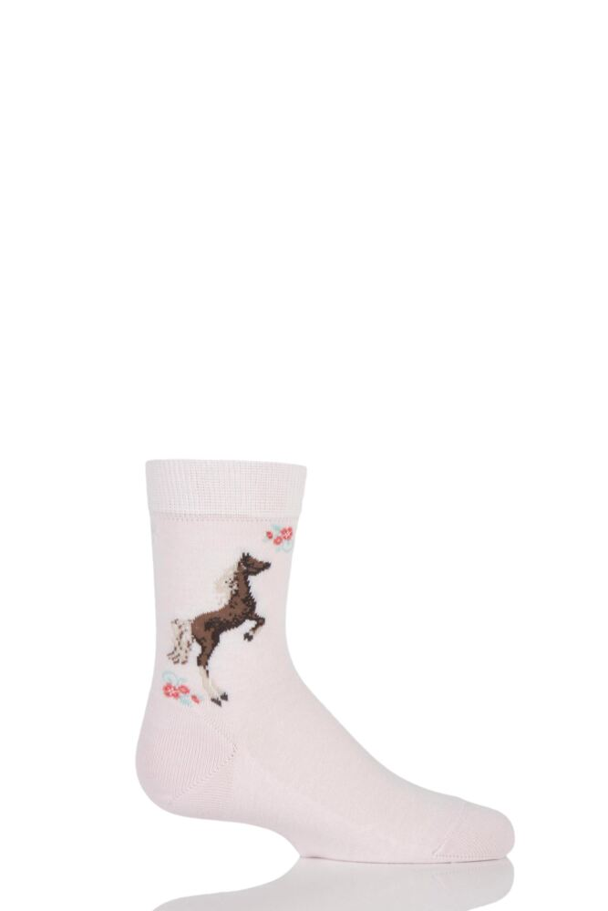 Girls 1 Pair Falke Horse and Floral Cotton Socks