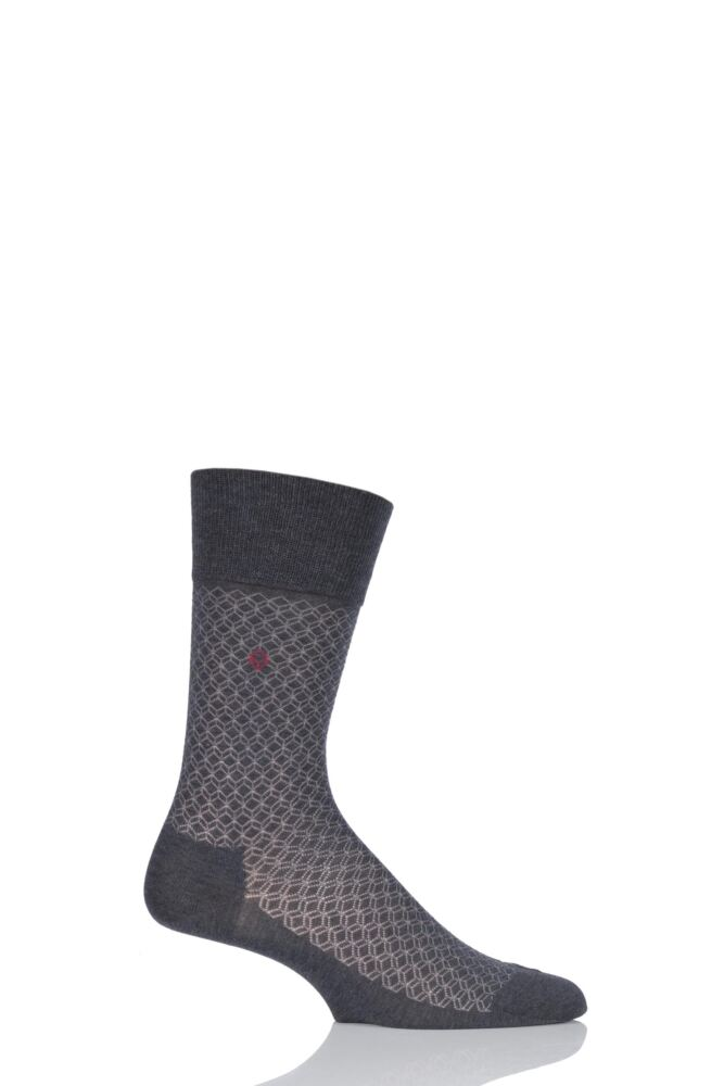 Mens 1 Pair Falke Cotton Keypad Patterned Socks