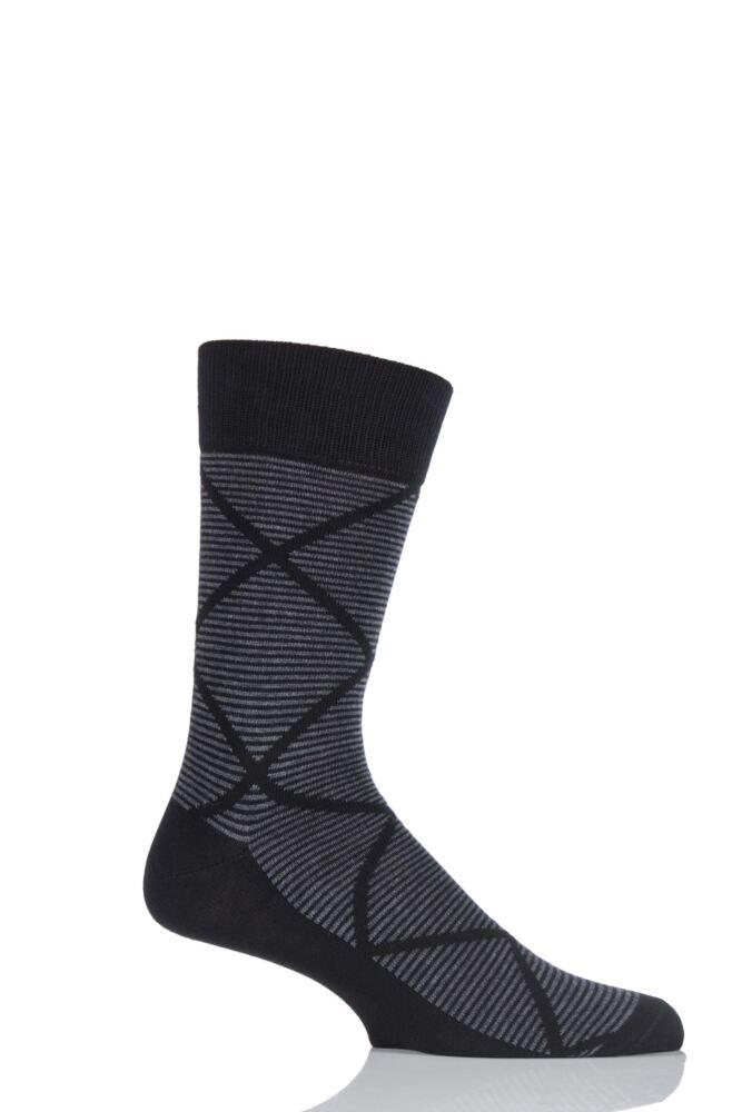 Mens 1 Pair Falke Graphic Striped Argyle Cotton Socks
