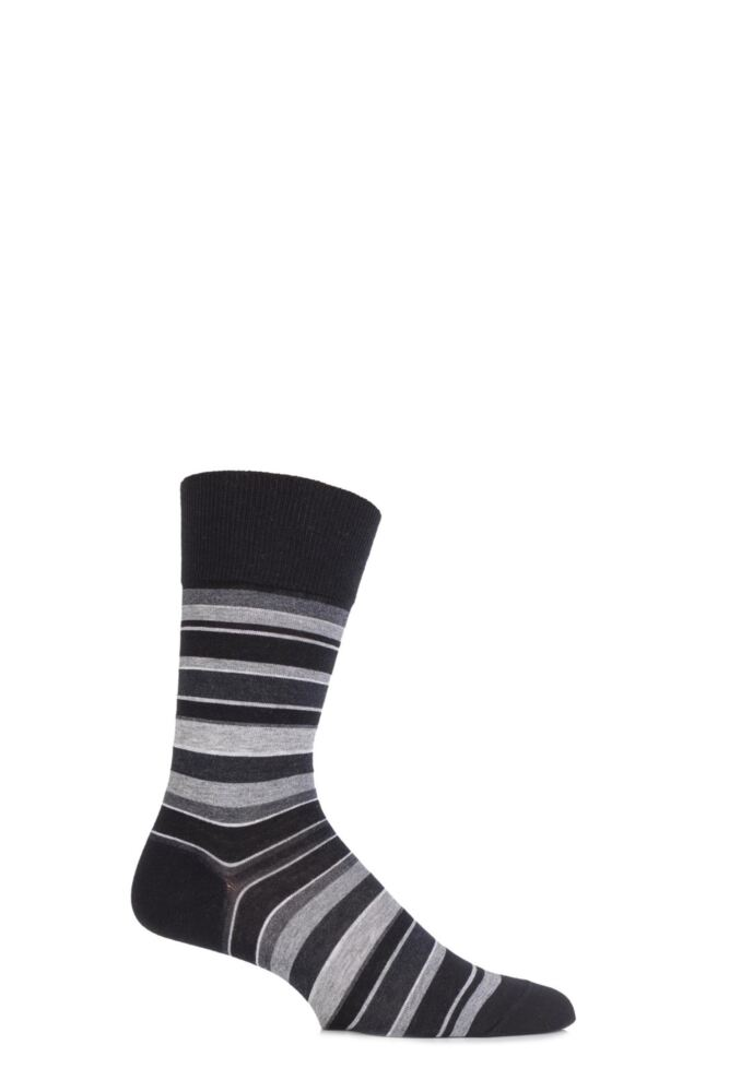 Mens 1 Pair Falke Cotton Multi Coloured Striped Socks 25% OFF
