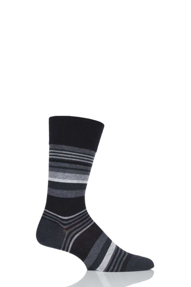 Mens 1 Pair Falke Multi Striped Cotton Socks