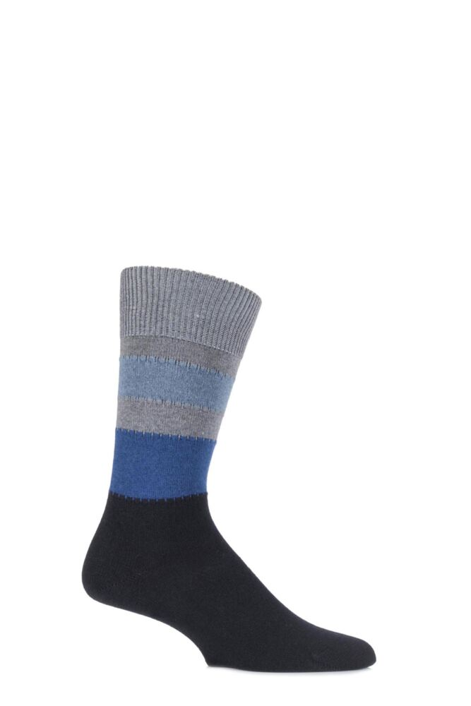 Mens 1 Pair Falke Lhasa Block Striped Cashmere Blend Leisure Socks