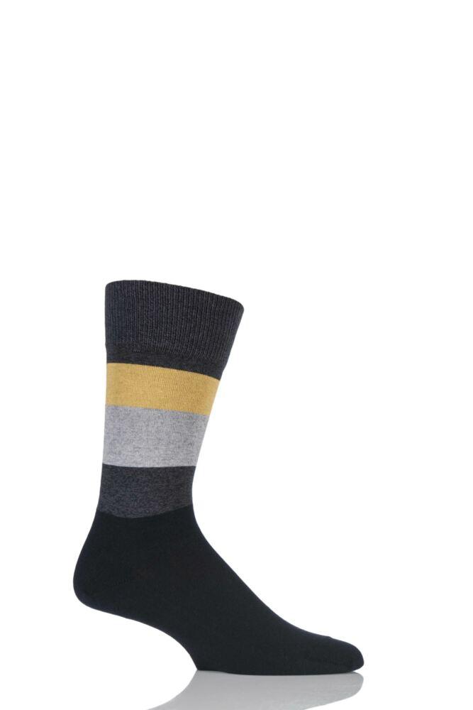 Mens 1 Pair Falke Block Striped Cashmere Socks