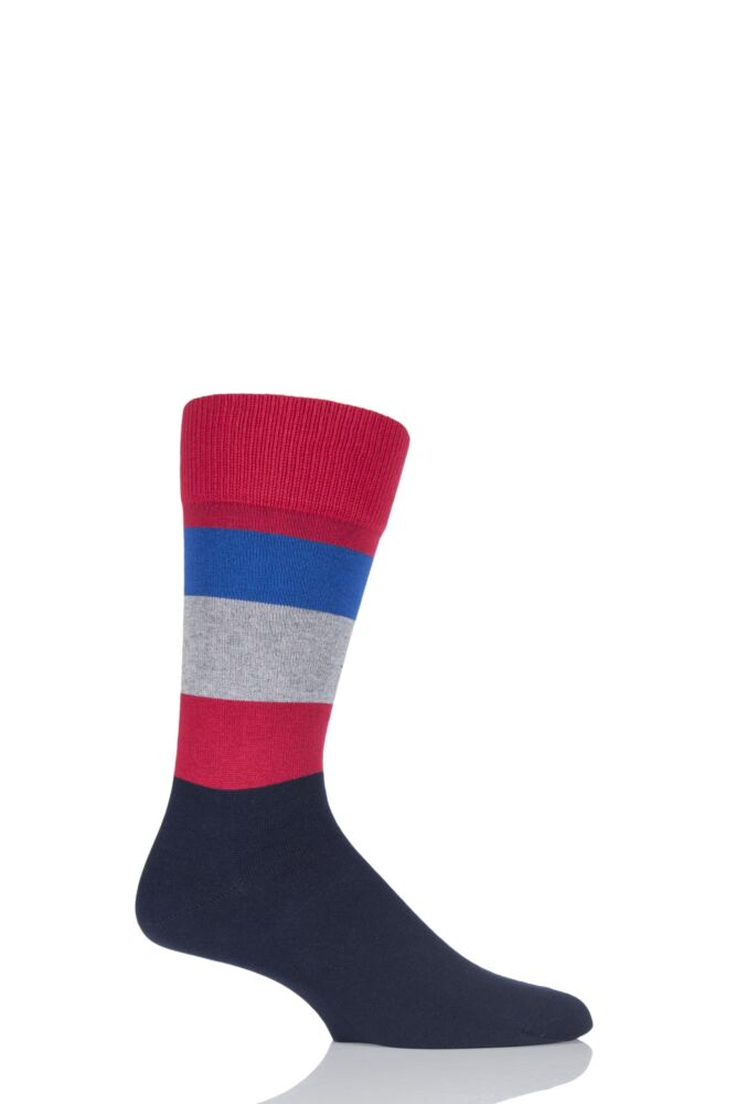 Mens 1 Pair Falke Block Striped Cashmere Socks