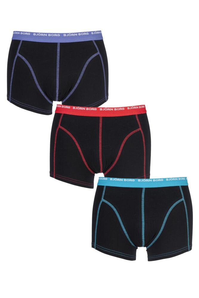 Mens 3 Pack Bjorn Borg 3 To Go Solid Colours Boxer Shorts In Black 25% OFF