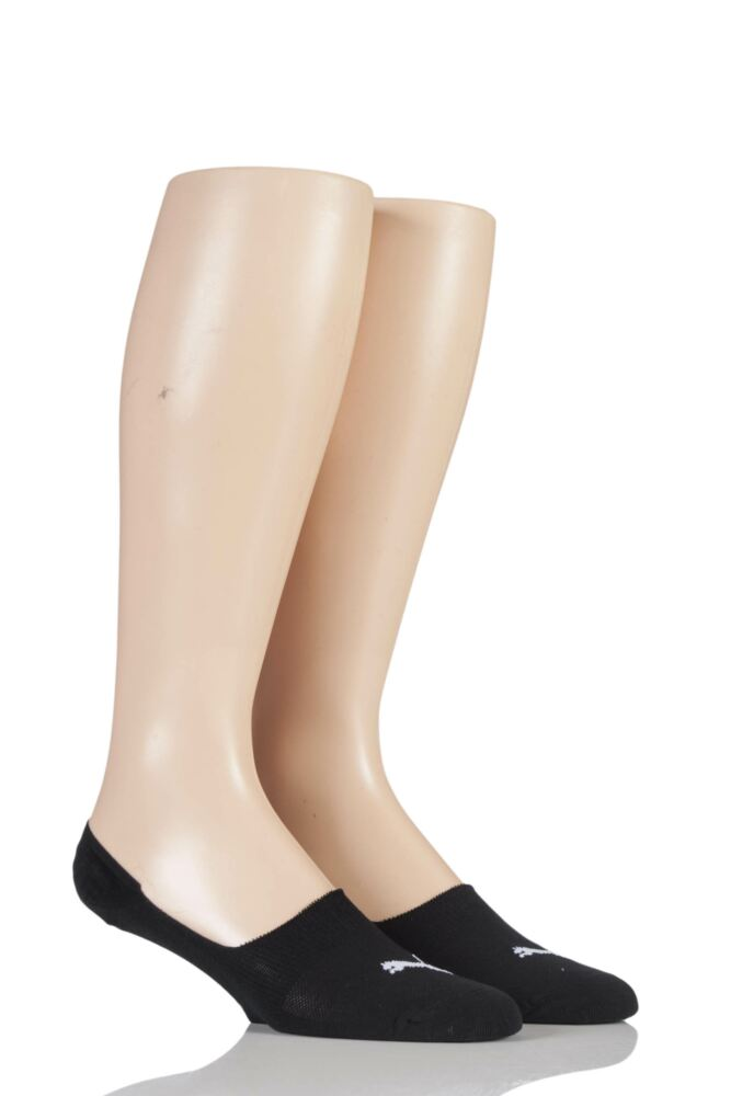 Mens and Ladies 2 Pair Puma Footies Trainer Socks with Silicone Heel Grip