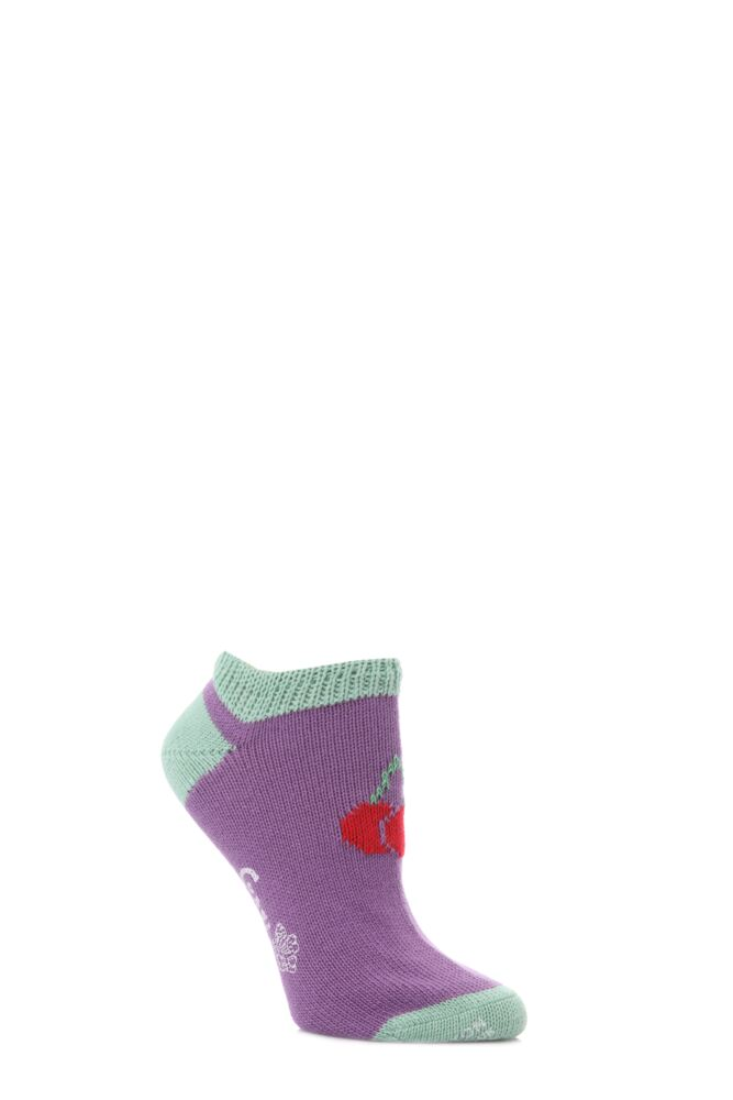 Ladies 1 Pair Corgi 100% Cotton Cherry Trainer Socks