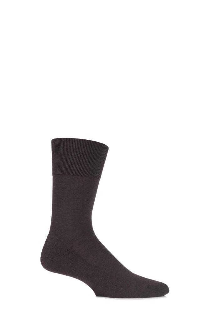 Mens 1 Pair Falke Airport Plus Plain Virgin Wool and Cotton Cushioned Business Socks
