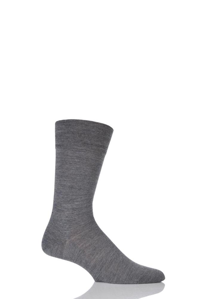 Mens 1 Pair Falke Sensitive Berlin Virgin Wool Left and Right Sock With Comfort Cuff