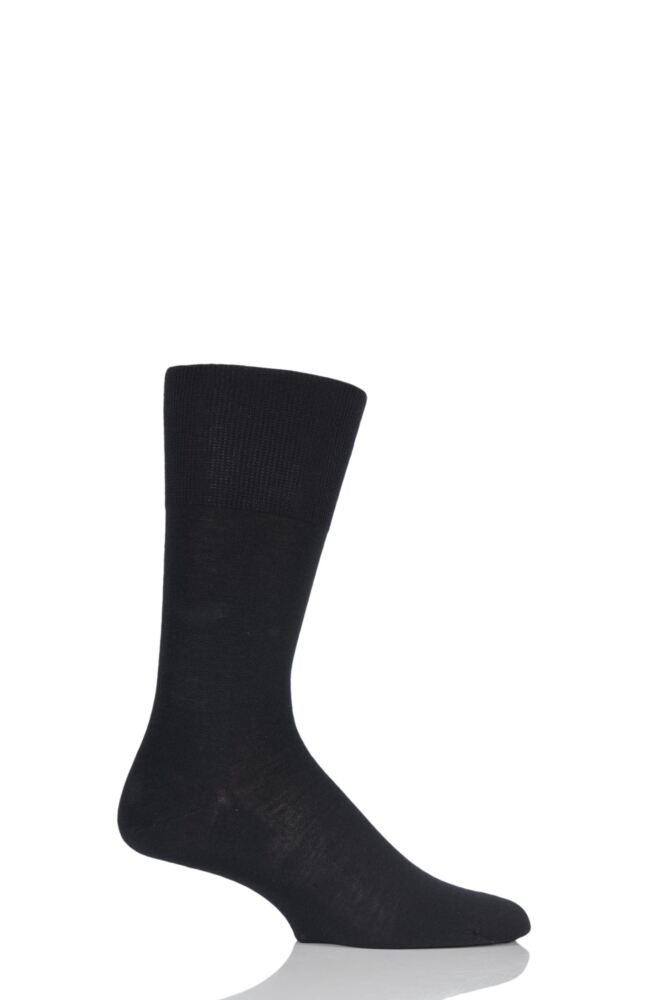 Mens 1 Pair Falke Airport Plain Virgin Wool and Cotton Business Socks