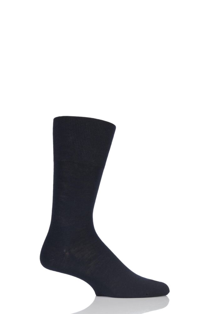 Mens 1 Pair Falke Airport Plain Virgin Wool and Cotton Business Socks