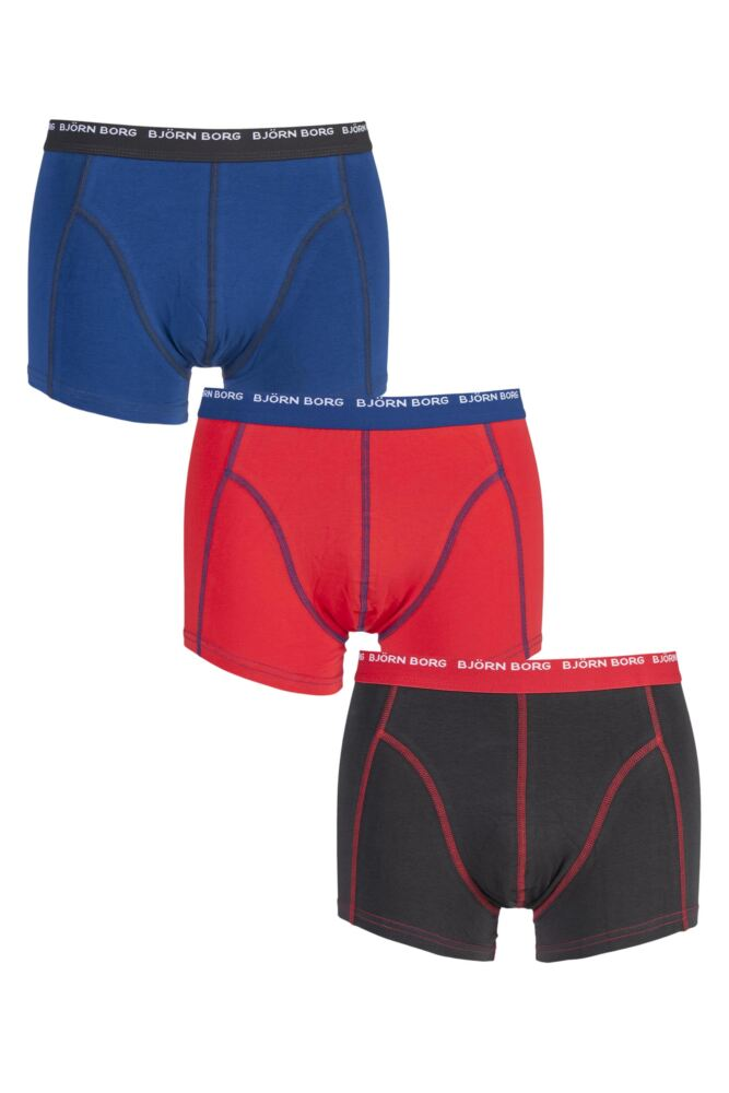 Mens 3 Pack Bjorn Borg 3 To Go Solid Colours Boxer Shorts In Phantom