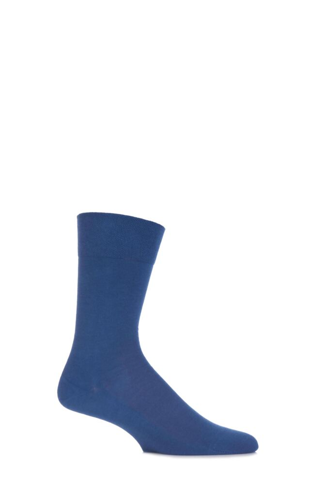 Mens 1 Pair Falke Sensitive London 98% Cotton Left and Right Socks With Comfort Cuff