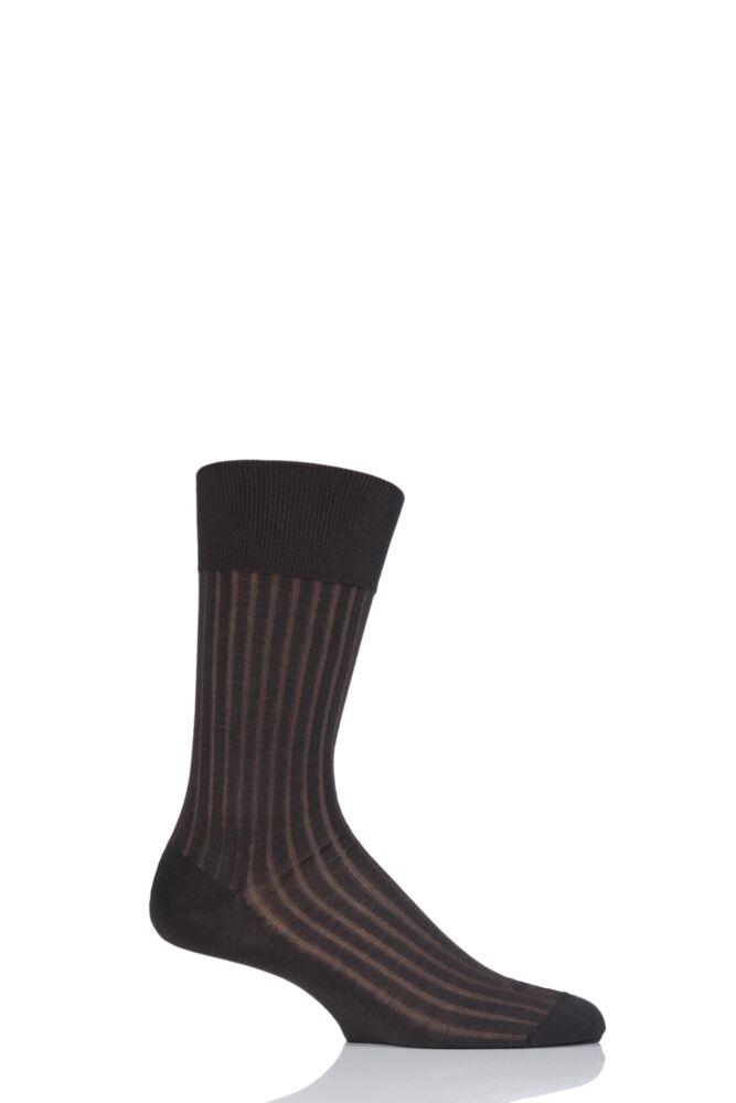 Mens 1 Pair Falke Shadow Fil d'Ecosse Cotton Ribbed Socks