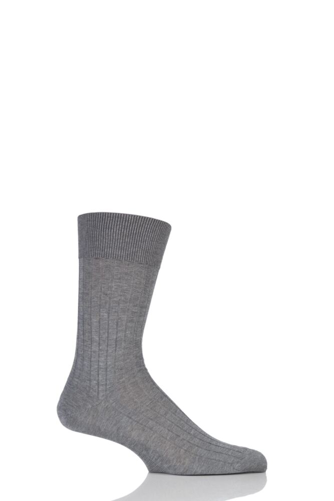 Mens 1 Pair Falke Milano Rib 100% Fil d'Ecosse Cotton Socks