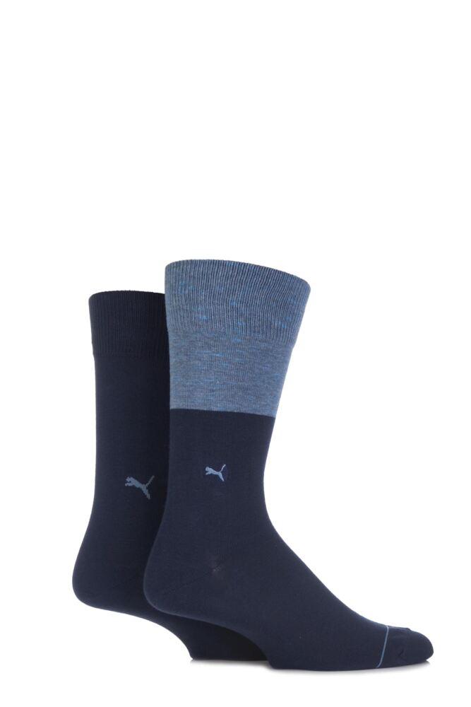 Mens 2 Pair Puma Colour Block Cotton Socks 33% OFF