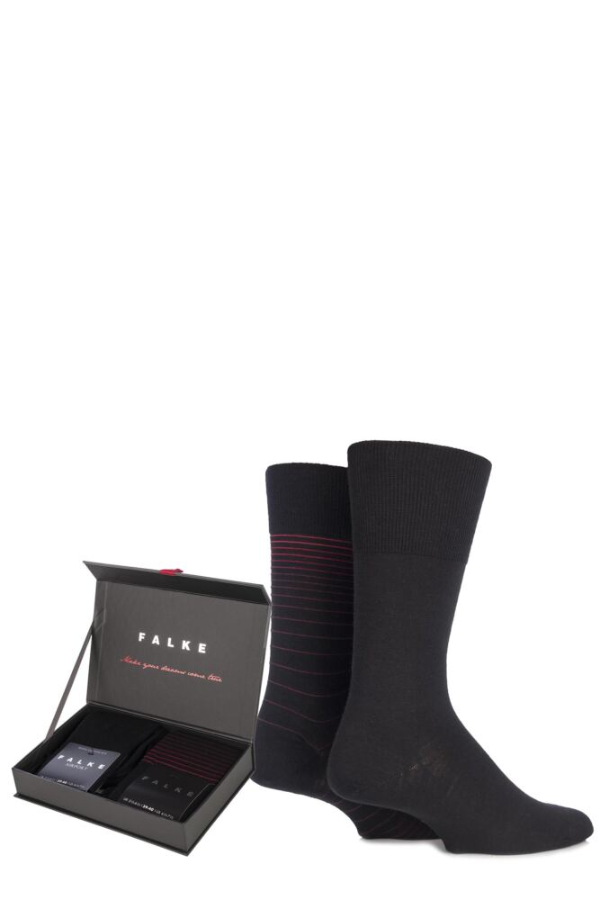 Mens 2 Pair Falke Christmas Gift Boxed Plain and Striped Wool Socks 50% OFF