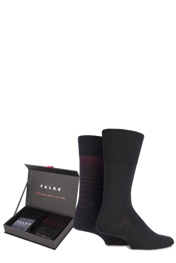 Mens 2 Pair Falke Christmas Gift Boxed Plain and Striped Wool Socks 50% OFF