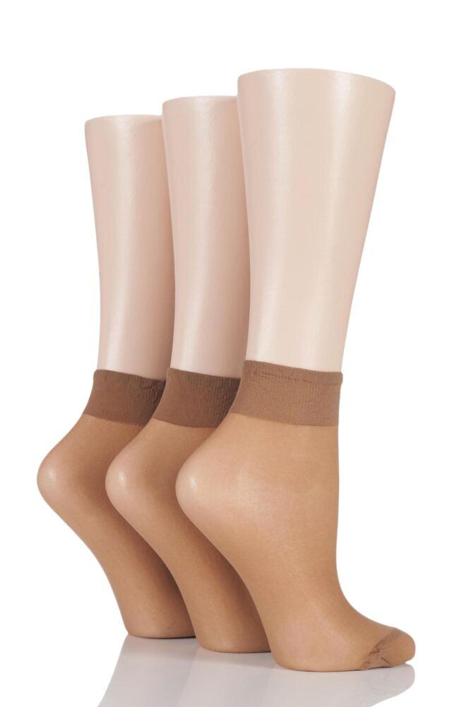 Ladies 3 Pair Elle 15 Denier 100% Nylon Ankle Highs