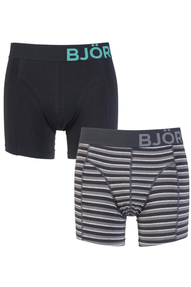 Mens 2 Pack Bjorn Borg Plain and Tracker Striped Cotton Boxer Shorts