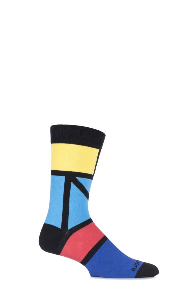 Mens 1 Pair Bjorn Borg Cotton Ethno Blocks Coloured Socks