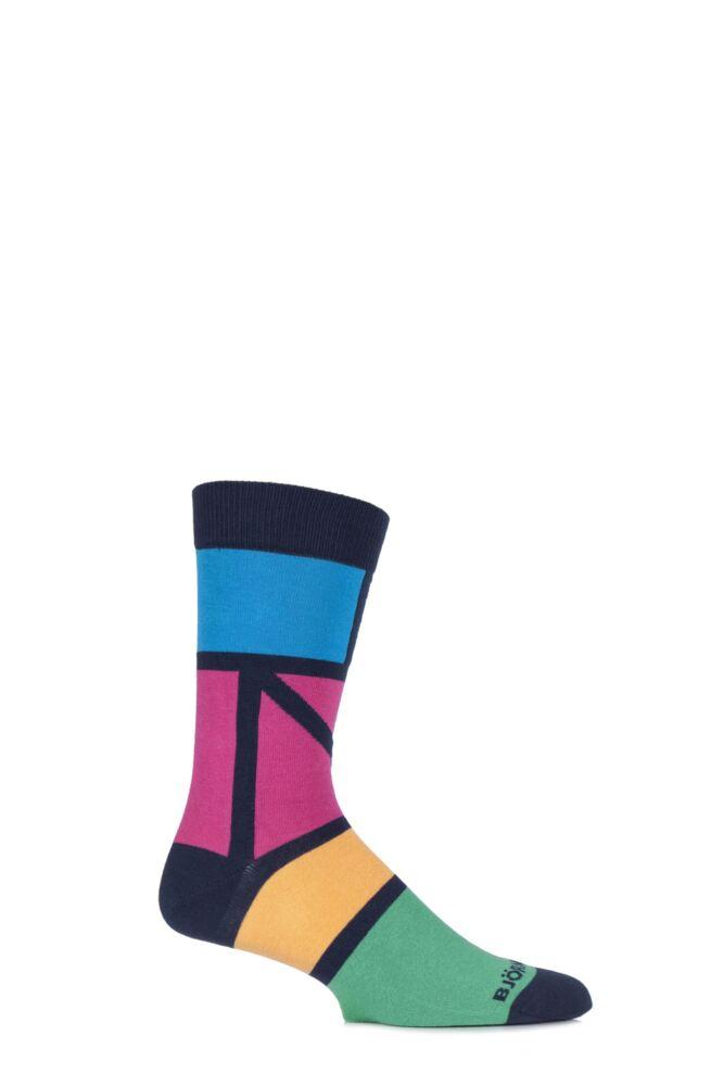 Mens 1 Pair Bjorn Borg Cotton Ethno Blocks Coloured Socks