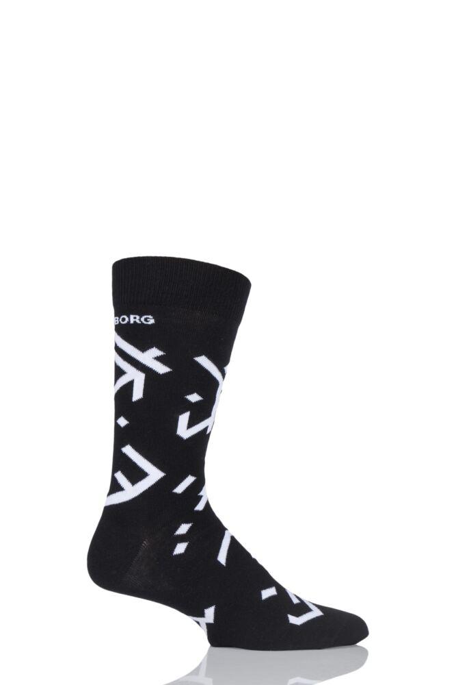 Mens 1 Pair Bjorn Borg Ancient Text Cotton Socks
