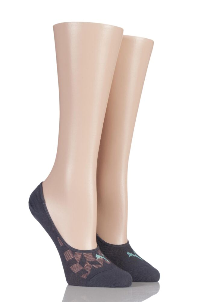 Ladies 2 Pair Puma Cotton Invisible Mesh Footie Socks
