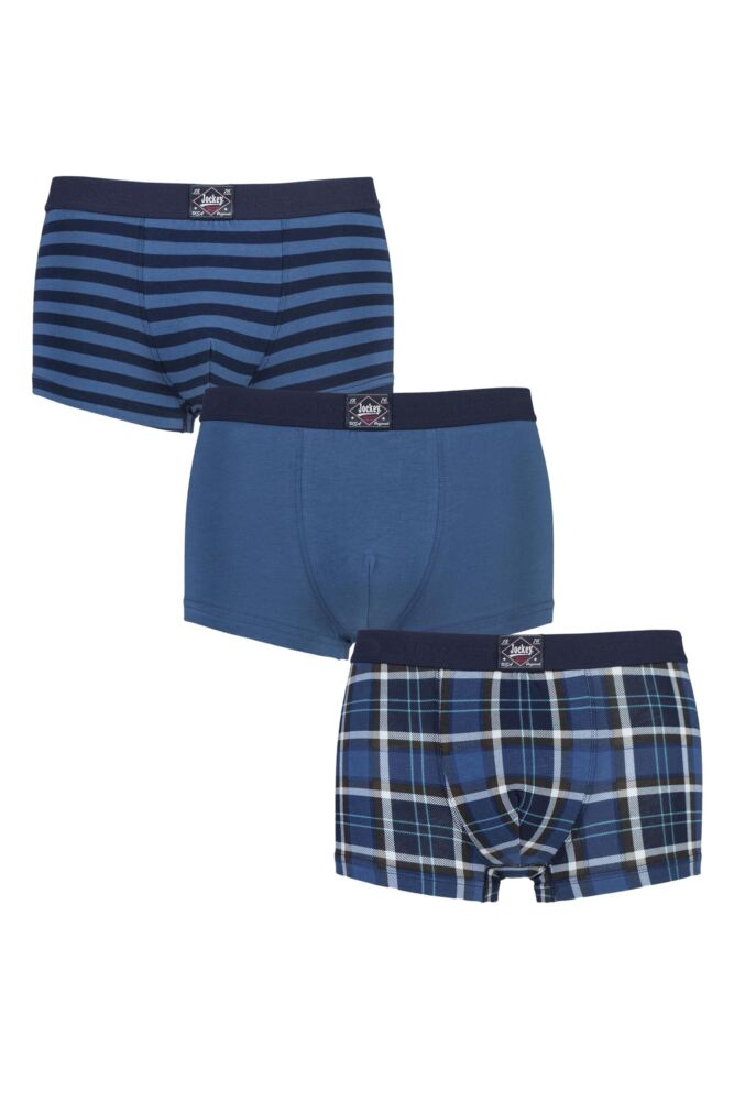 Mens 3 Pack Jockey Brooklyn Club Plain, Stripe and Check Cotton Boxer Shorts