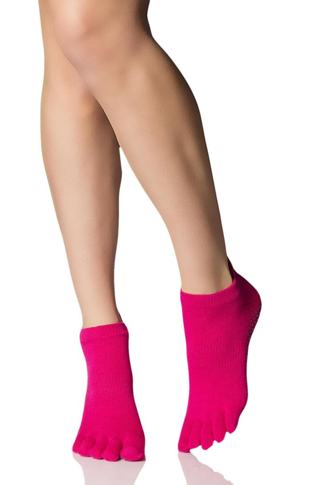 Ladies 1 Pair ToeSox Full Toe Organic Cotton Low Rise Yoga Socks In Fuchsia