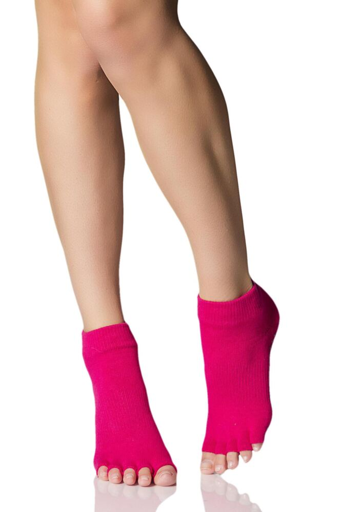 Ladies 1 Pair ToeSox Half Toe Organic Cotton Ankle Yoga Socks In Fuchsia