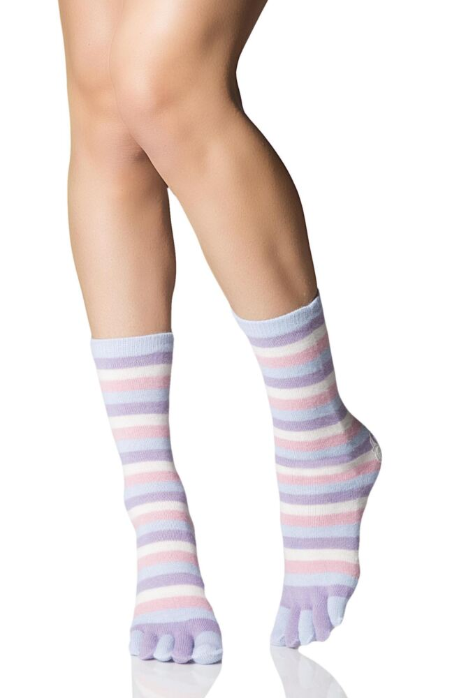 Ladies 1 Pair Elle Striped Angora Toe Socks