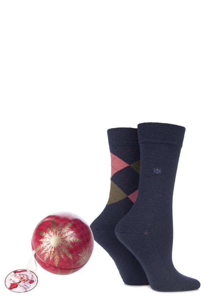 Ladies 2 Pair Burlington Christmas Bauble with Argyle and Plain Virgin Wool Socks 25% OFF