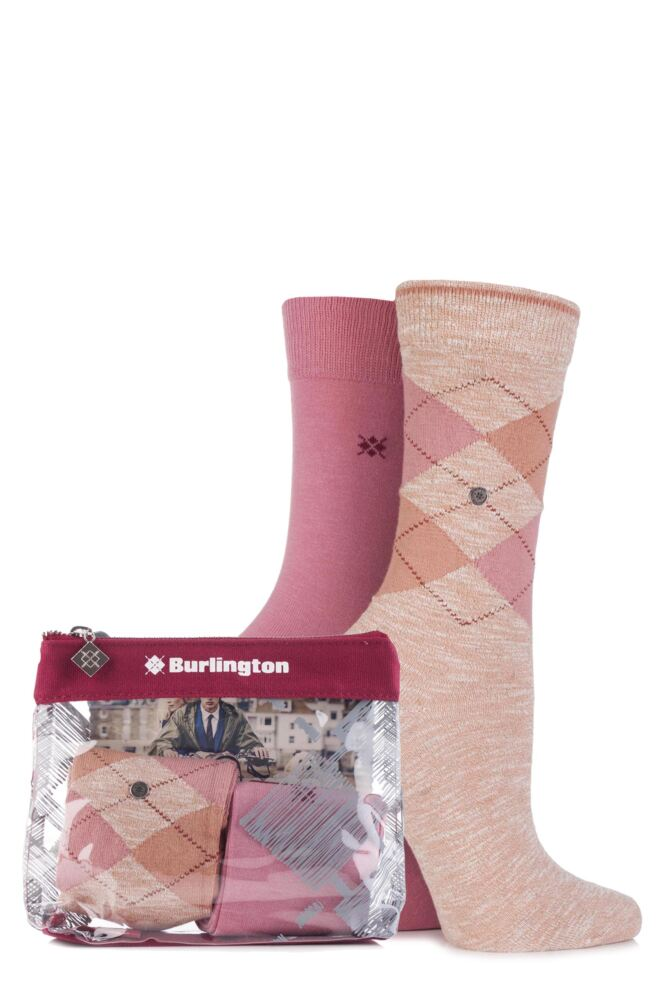 Ladies 2 Pair Burlington Gift Bagged Avebury Argyle and Jersey Plain Cotton Socks 25% OFF
