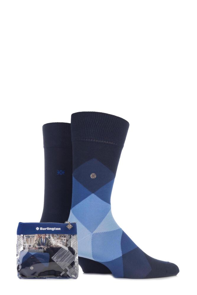 Mens 2 Pair Burlington Gift Bagged Clyde Argyle and Dublin Plain Cotton Socks