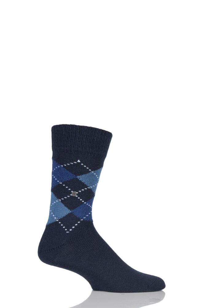 Mens 1 Pair Burlington Dundee Wool Argyle Socks