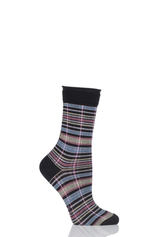 Ladies 1 Pair Burlington Multi Coloured Check Cotton Socks