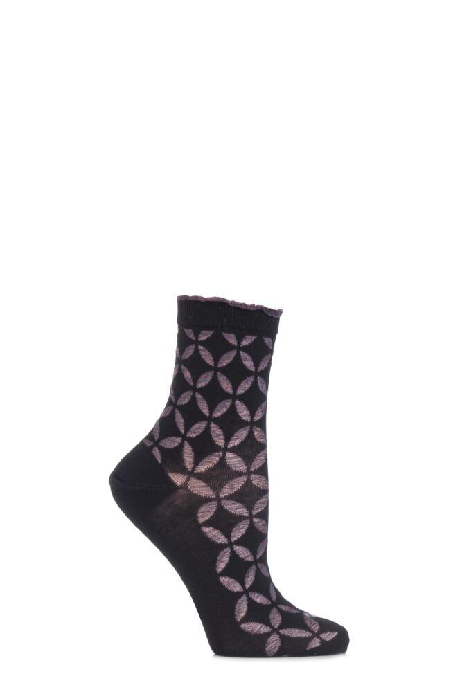 Ladies 1 Pair Burlington Metallic Circle Cotton Socks with Frill Top