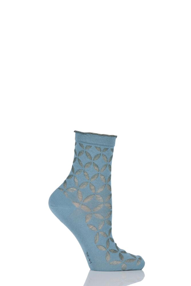 Ladies 1 Pair Burlington Metallic Circle Cotton Socks with Frill Top 25% OFF