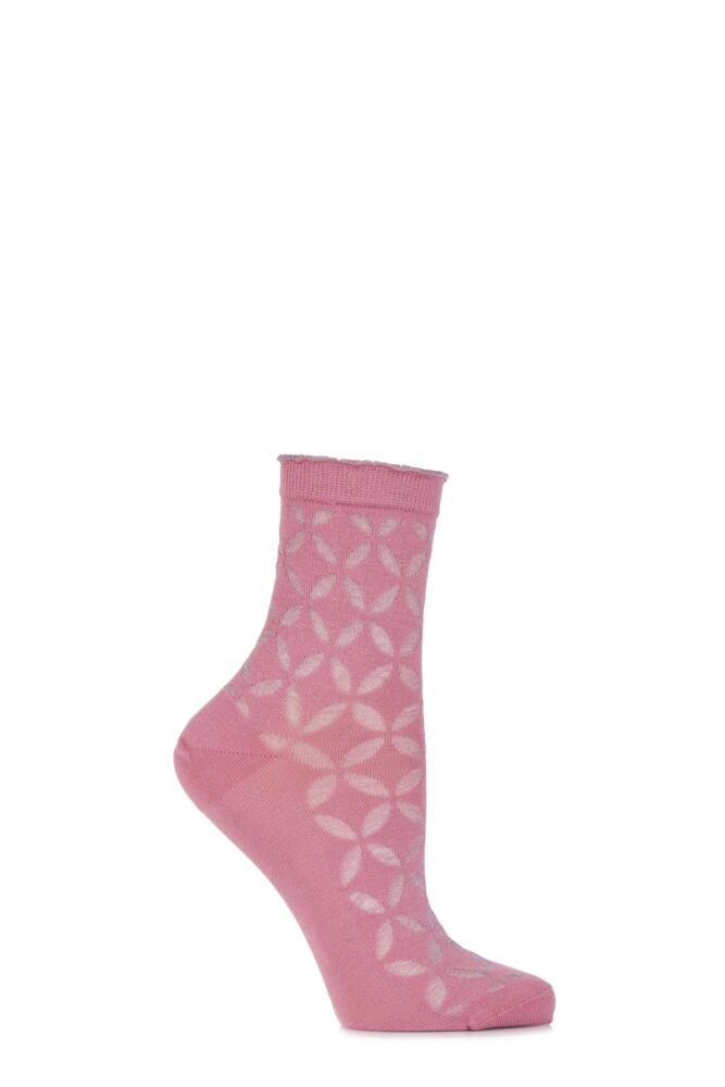 Ladies 1 Pair Burlington Metallic Circle Cotton Socks with Frill Top