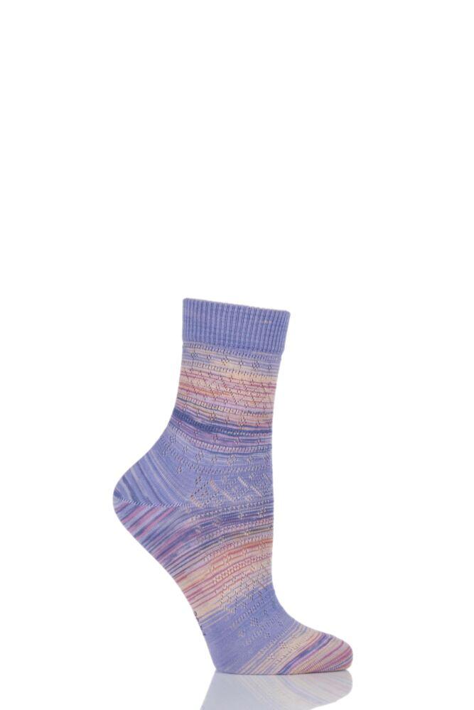 Ladies 1 Pair Burlington Painted Ajour Mixed Colour Cotton Ankle Socks