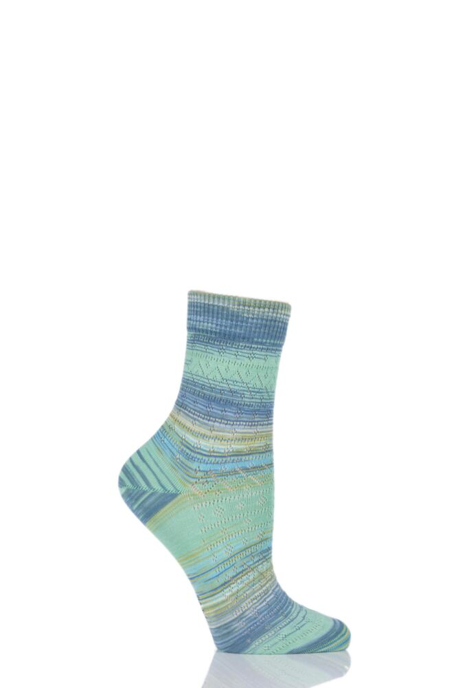 Ladies 1 Pair Burlington Painted Ajour Mixed Colour Cotton Ankle Socks