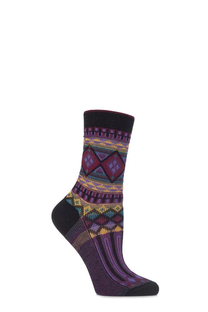 Ladies 1 Pair Burlington Cotton Ethno Aztec Patterned Socks 25% OFF